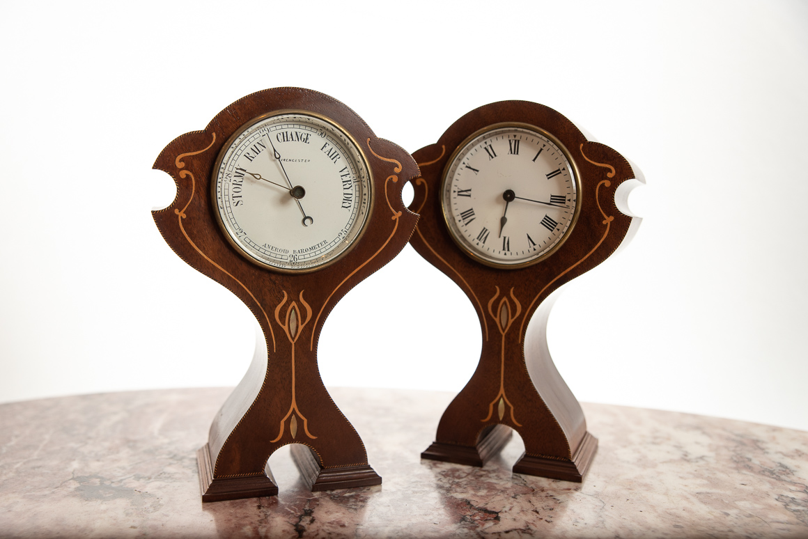 pair of mahogany mantel clocks